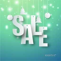 Creative hanging text Sale with xmas balls and trees on shiny background, Can be used as poster, banner or flyer design.