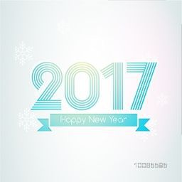 Glossy blue text 2017 on snowflakes decorated background. Creative vector illustration for Happy New Year celebration.
