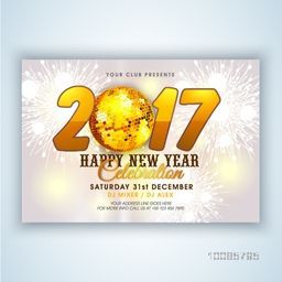 3D golden text 2017 with Disco Ball on Glowing festive holiday background. Elegant poster, banner or flyer for Happy New Year celebration.