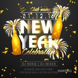 Stylish text New Year on decorated background. Creative glowing template, banner, flyer or invitation design for Happy New Year celebration.