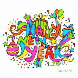 Colorful Text Happy New Year with various elements, Creative doodle style vector illustration.
