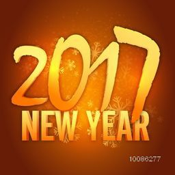 Golden 3D Text 2017 New Year on snowflakes decorated background.