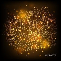 Golden Text Happy New Year with various elements, Creative doodle style vector illustration.
