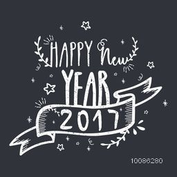 Elegant Greeting Card with hand drawn lettering design Happy New Year 2017 and Ribbon on grey background.