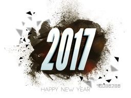 3D Text 2017 on abstract brush stroke background for Happy New Year celebration.
