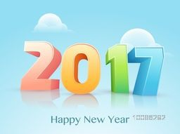 3D Colorful Text 2017 on glossy background for Happy New Year celebration.