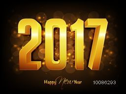 3D Golden Text 2017 on shiny background for Happy New Year celebration.