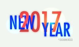 Creative Text New Year 2017 on white background, Can be used as poster, banner or flyer design.