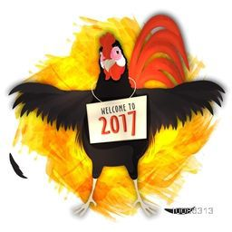 Illustration of a funny Rooster holding 'Welcome to 2017' Board on abstract background for Chinese New Year Celebration.