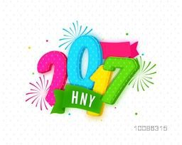 Colorful 3D Text 2017 with green ribbon on abstract background for Happy New Year Celebration.