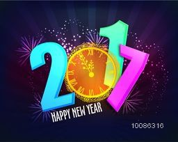 Colorful Text 2017 with glossy Clock showing almost twelve o'clock for welcome of Happy New Year on sparkling rays background.