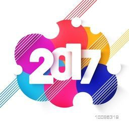Stylish Text 2017 on colorful abstract background for Happy New Year Celebration.