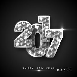 Glossy crystal Text 2017 on grey background for Happy New Year Celebration.