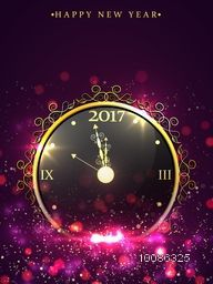 Elegant Flyer, Banner or Pamphlet with glossy Clock showing almost twelve o'clock for welcome of Happy New Year.