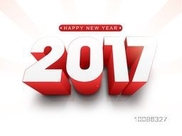 3D red and white Text 2017 on rays background for Happy New Year Celebration.