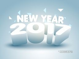 3D glossy Text 2017 on abstract background for Happy New Year Celebration.
