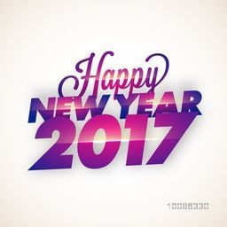 Greeting card design with shiny Text Happy New Year 2017 on glossy background.
