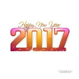 Glossy colorful Text 2017 on white background for Happy New Year Celebration.