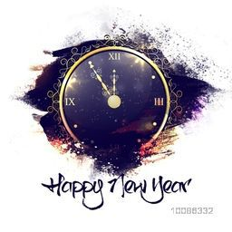 Golden glossy elegant Clock showing almost twelve o'clock for welcome of Happy New Year. Beautiful greeting card design.