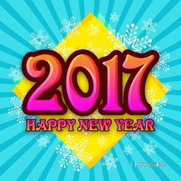 Glossy text 2017, Happy New Year on snowflakes decorated background, Elegant greeting card design.