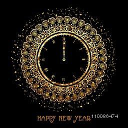 Beautiful golden floral clock showing time for New Year Party celebration.