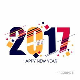 Colorful text 2017 on white background, Elegant greeting card design for Happy New Year celebration.