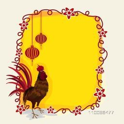 Chinese New Year celebration greeting card design. Creative background with illustration of a rooster and hanging lanterns.