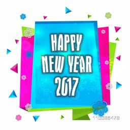 Elegant colorful greeting card design for Happy New Year 2017 celebration.