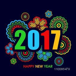 Colorful text 2017 with beautiful snowflakes, Elegant greeting card design for Happy New Year celebration.