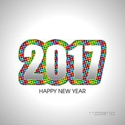 Greeting card design with glossy text 2017 for Happy New Year celebration.