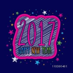 Creative text 2017 on stars decorated background, Elegant greeting card design for Happy New Year celebration.