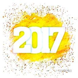 Glossy white text 2017 on abstract background, Elegant creative greeting card design for Happy New Year celebration.