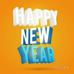 Creative 3D text Happy New Year on yellow background.