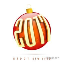 Glossy Xmas Ball with 3D text 2017 on white background for Happy New Year celebration.