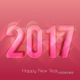 Elegant greeting card design with 3D text 2017 for Happy New Year celebration.