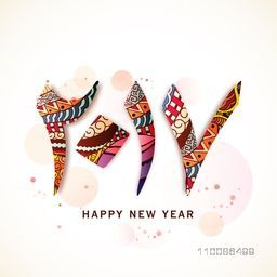 Colorful Arabic Islamic Calligraphy of text 2017 on shiny background. Elegant greeting card design for Happy New Year celebration.