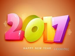 Colorful 3D text 2017 on snowflakes decorated glossy background. Elegant greeting card design for Happy New Year celebration.