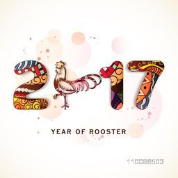 Creative colorful text 2017 with rooster for Chinese New Year or Year of the Rooster celebration.