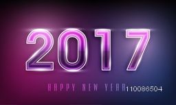 Greeting Card design with creative glossy text 2017 for Happy New Year celebration.