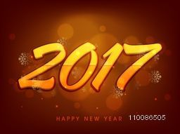 Elegant greeting card design with glossy text 2017 on snowflakes decorated background for Happy New Year celebration.