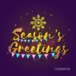 Stylish text Season's Greetings with snowflake and buntings decoration. Elegant festive background. Beautiful greeting card design.