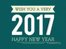 3D white text 2017 on green background. Elegant greeting card design for Happy New Year celebration.