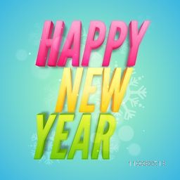 3D colorful text Happy New Year on sky blue background. Elegant greeting card design. Vector illustration.