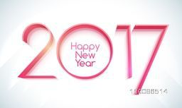 Glossy 3D text 2017 on shiny background for Happy New Year celebration.