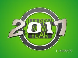 Elegant greeting card design with glossy 3D text 2017 on green background for Happy New Year celebration.