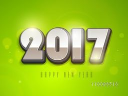 Creative glossy 3D text 2017 on green background, Elegant greeting card design for Happy New Year celebration.