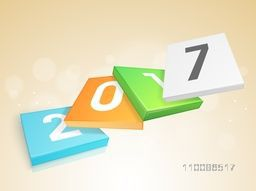 Glossy colorful square boards with text 2017. Vector illustration for Happy New Year celebration.
