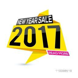 New Year Sale 2017, Creative sale tag or paper banner design on white background.