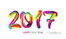 Creative colorful hand drawn text 2017 on white background. Elegant greeting card design for Happy New Year celebration.
