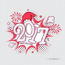 Text design 2017 on pop art explosion. Creative abstract background. Elegant greeting card design for Happy New Year celebration.